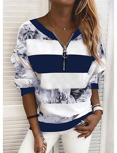cheap Blouses & Shirts-Women's Blouse Shirt Striped Color Block Long Sleeve Print V Neck Tops Basic Top Blue Yellow Blushing Pink