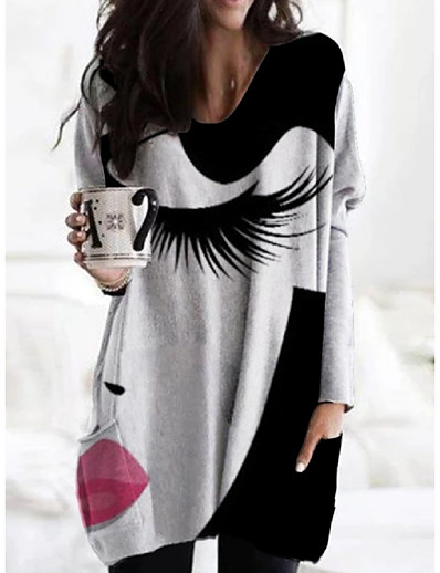 cheap Casual Dresses-Women's Shift Dress Knee Length Dress - Long Sleeve Print Print Fall V Neck Casual Loose 2020 Black S M L XL XXL 3XL