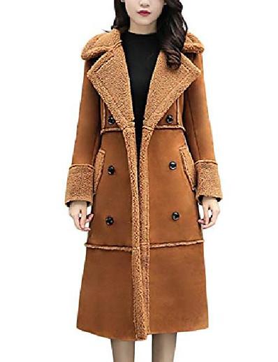 abordables Tendances 2021-manteau d'hiver épais à double boutonnage en peau de mouton retournée et doublée sherpa (moyen, marron)