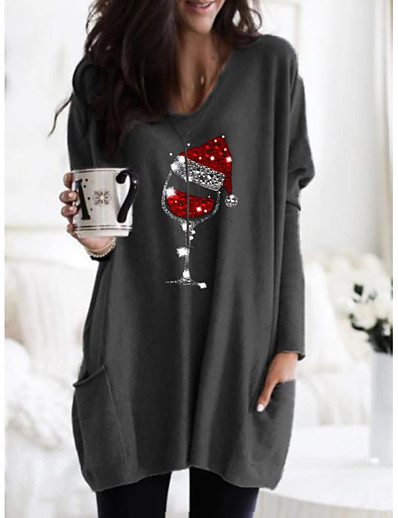 abordables Robes Décontracté-Femme Robe Droite Mini robe Courte - Manches Longues Imprimé Imprimé Automne Simple Noël 2020 Noir Bleu Kaki Gris S M L XL XXL 3XL