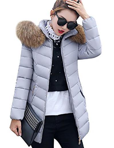 cheap Outerwear-winter down jacket for women hooded parka puffer jacket grey m