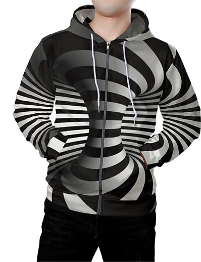 cheap Men's 3D-Men's Zip Up Hoodie Sweatshirt Graphic 3D Front Pocket Hooded Daily Weekend 3D Print 3D Print Hoodies Sweatshirts  Long Sleeve Black