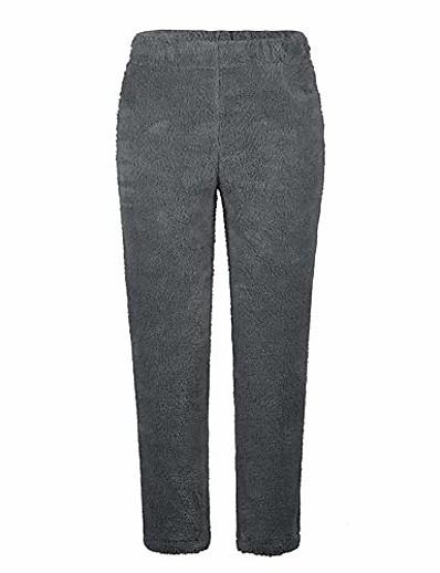 abordables Pantalons Femme-pantalon polaire en peluche pour femmes solide hiver pantalon ample chaud vêtements de détente décontractés 3xl gris