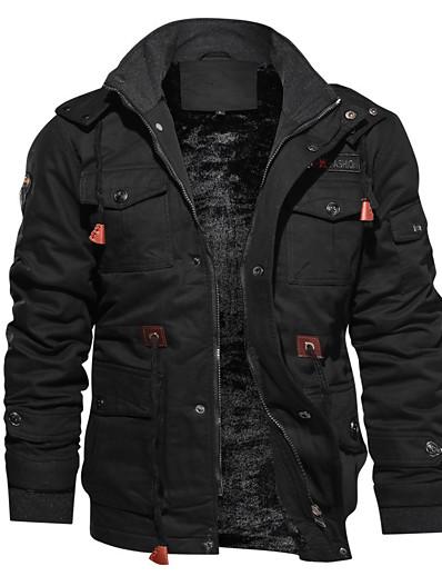 cheap Men's Outerwear-mens winter coats with hood warm thicken jacket fleece lined casual jacket men hiking jacket parka jacket warm  jackets for men black