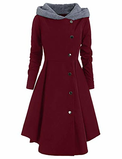 cheap Sweater Dresses-jackets for women fashion steampunk hooded trench coat blazer tops single breasted long drap buttons coat wine