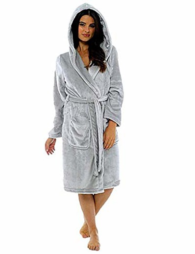 cheap Pajamas-womens soft plush flannel robes long hooded bathrobes, plus size big and tall, s-5xl dark gray