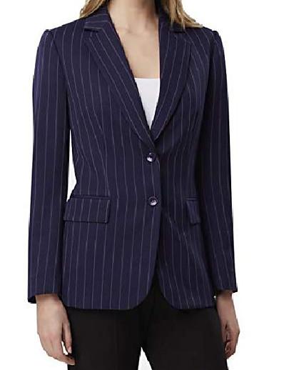 cheap OUTERWEAR-tahari by asl two-button jacket navy/wide chalk stripe 14
