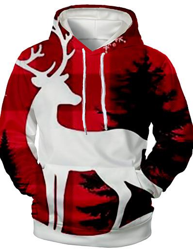 abordables Tops-Homme Sweat-shirt à capuche Imprimé 3D Graphique Poche avant Capuche Noël Motifs 3D Noël Pulls Capuche Pulls molletonnés Manches Longues Rouge