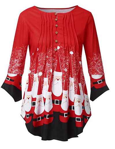 cheap Christmas Tops-Women's Christmas Blouse Snowflake Pleated Asymmetric Print Round Neck Tops Cotton Christmas Basic Top Black Red Gray