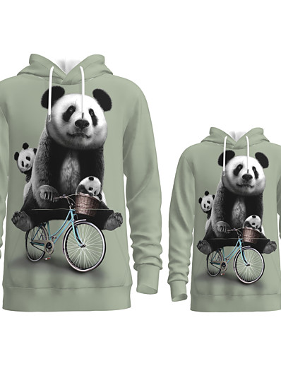 cheap Family Matching Outfits-Family Look Active Panda Graphic optical illusion Animal Print Long Sleeve Regular Hoodie & Sweatshirt Gray