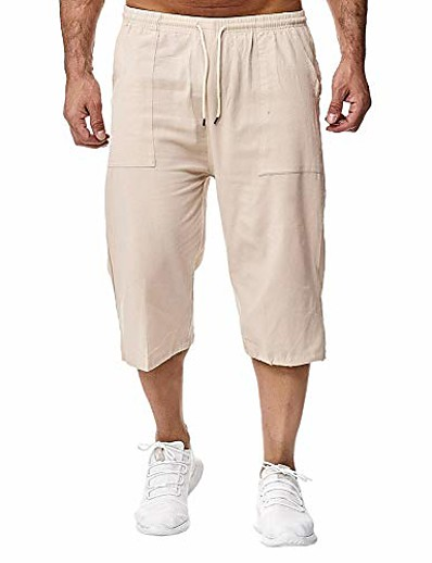 cheap Men's Bottoms-men's capri shorts 3/4 loose fit below knee cargo short pants casual wide leg bermuda shorts with pockets