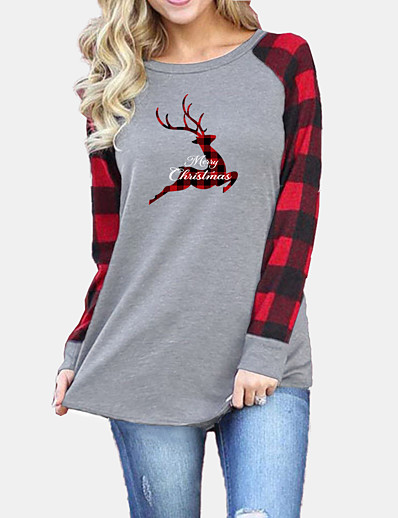 cheap Christmas Tops-Women's Christmas T shirt Plaid Graphic Reindeer Long Sleeve Patchwork Round Neck Tops Basic Christmas Basic Top Black Gray