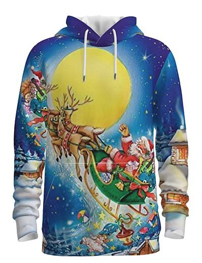 cheap Men's 3D-Men's Pullover Hoodie Sweatshirt Print Graphic 3D Front Pocket Hooded Christmas Daily 3D Print 3D Print Christmas Hoodies Sweatshirts  Long Sleeve Blue