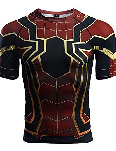 cheap NEW IN-short sleeve spider-man compression shirts (medium) red