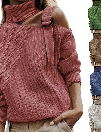 cheap Sweaters & Cardigans-Women's Knitted Solid Color Pullover Long Sleeve Sweater Cardigans Turtleneck Fall Winter Black Blue Red