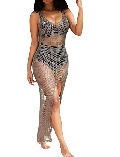abordables Couverts-femmes crochet évider plage bikini couvrir maillot de bain maillot de bain robe (xl) kaki