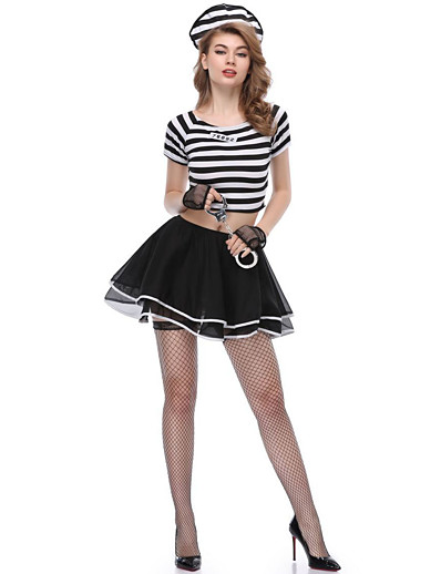 cheap Cosplay & Costumes-Prisoner Outfits Masquerade Costume Women's Movie Cosplay More Uniforms Black Skirts Top Hat Halloween Carnival Masquerade Polyester