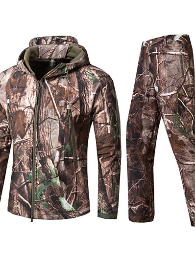 cheap Hunting Clothing-Men's Softshell Jacket Camouflage Hunting Jacket Hunting Jacket with Pants Outdoor Autumn / Fall Winter Thermal Warm Waterproof Windproof Fast Dry Clothing Suit Cotton Camping / Hiking Hunting Casual