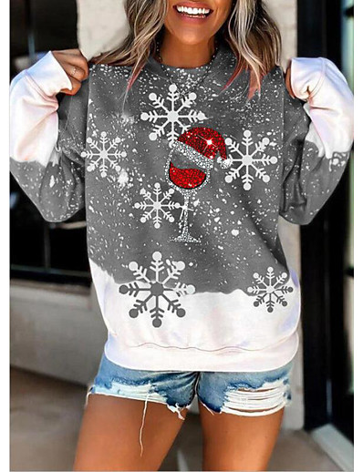 cheap Hoodies & Sweatshirts-Women's Pullover Sweatshirt Graphic Christmas Casual Hoodies Sweatshirts  Loose Gray Red