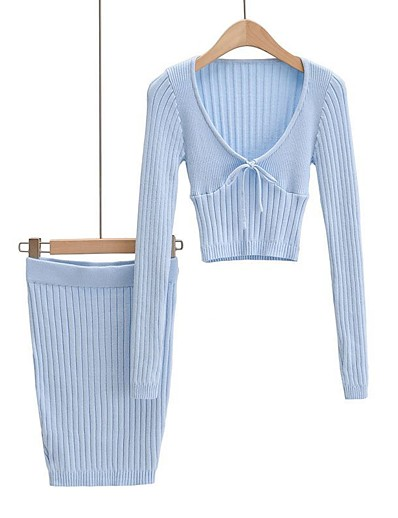 cheap JUMPSUITS & ROMPERS-Women's Solid Color Two Piece Set Deep V Sweater Skirt Bow Drawstring Tops / Slim