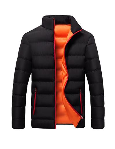 cheap Men's Outerwear-Men's Padded Regular Coat Regular Fit Jacket Solid Colored Blue Gray Green