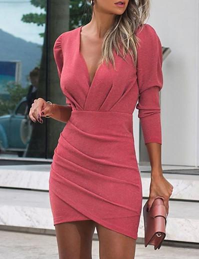 cheap Mini Dresses-Women's Sheath Dress Short Mini Dress Black Blushing Pink Wine Navy Blue Long Sleeve Solid Color Summer V Neck Sexy 2021 S M L XL XXL