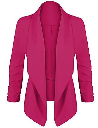 abordables Blazers Femme-veste blazer légère à manches 3/4 pour femme à imprimé floral et uni magenta