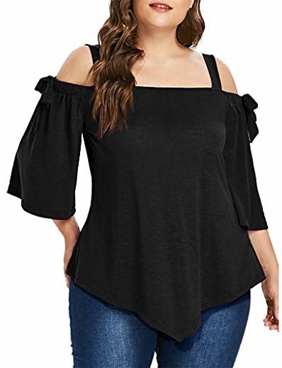 preiswerte Tops in Übergröße-Damen T-Shirt Volltonfarbe Gerader Kragen Oberteile Baumwolle Basic Top Marineblau Schwarz Grau