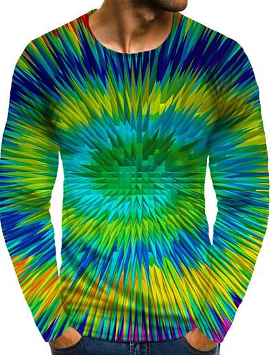 abordables Hommes 3D-Homme T shirt Impression 3D Graphique 3D Print 3D Grandes Tailles Imprimé Manches Longues Quotidien Hauts Arc-en-ciel