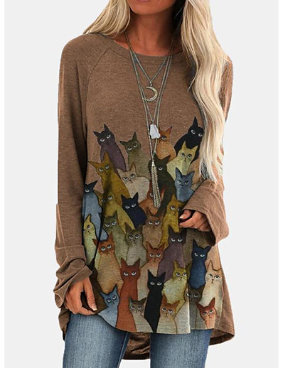 cheap Blouses & Shirts-Women's T-shirt Tunic Cat Long Sleeve Print Round Neck Tops Loose Basic Top Blue Wine Khaki