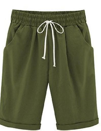 abordables Shorts pour femmes-bermuda uni décontracté d'été pour femme, longueur genou, short de plage (violet, s)