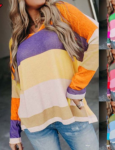 cheap Sweaters & Cardigans-Women's Stripes Outfits Blue Purple Yellow Red S M L XL / Plus Size