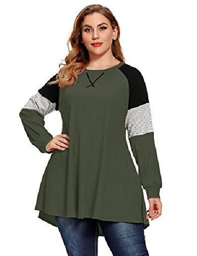 abordables Pulls & Gilets Grandes Tailles Femme-plus la taille tops femmes pull sweat couleur bloc polaire à manches longues tunique rayée chemise raglan (vert armée 5x)