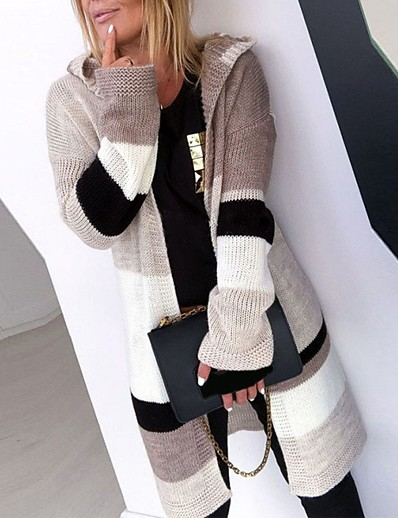 cheap Cardigans-Women's Knitted Color Block Cardigan Long Sleeve Plus Size Sweater Cardigans Hooded Fall Winter Gray