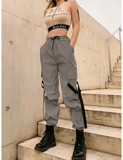 abordables Bas-Femme Extérieur Ample Quotidien Pantalons Pantalon cargo Pantalon Couleur Pleine Toute la longueur Taille haute Gris