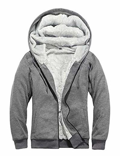 cheap Softshell, Fleece & Hiking Jackets-winter fleece jacket for men hooded warm zip hoodie trench coat jacket outwear sweatshirt gray