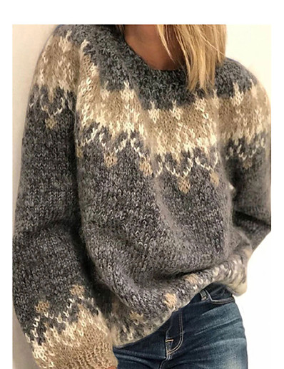 cheap Sweaters & Cardigans-Women's Solid Color Jumper Acrylic Fibers Long Sleeve Sweater Cardigans Crew Neck Fall Winter Black Red Navy Blue
