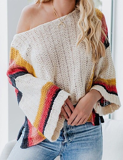 cheap Sweaters & Cardigans-Women's Stylish Knitted Striped Pullover Acrylic Fibers Long Sleeve Sweater Cardigans Off Shoulder Fall Winter Black Beige