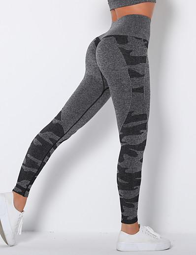 cheap Leggings-Women's Sporty Comfort Sports Gym Yoga Leggings Pants Camouflage Ankle-Length Black Purple Blushing Pink Green Light gray