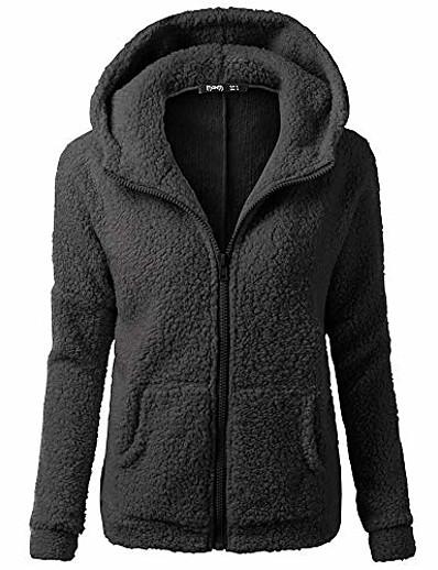 abordables Manteaux & Vestes Grandes Tailles Femme-manteau sweat à capuche pour femmes, veste en coton chaud polaire d'hiver floue fausse fermeture éclair outwear grande taille (noir, 4x-large)
