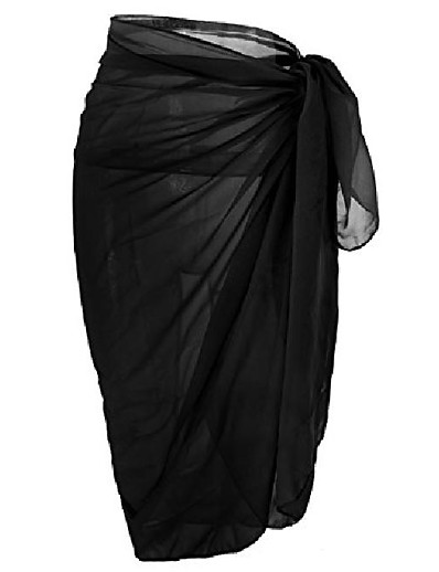 cheap Cover Ups-womens swimwear chiffon cover up solid color beach sarong swimsuit wrap,black