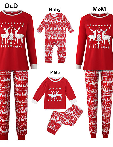 cheap Family Matching Pajamas Sets-Family Look Basic Graphic Print Long Sleeve Regular Clothing Set Red