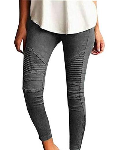 cheap Women's Bottoms-Women's Simple Basic Causal Daily Pants Pants Full Length Pocket Patchwork Wine Black Blue Purple khaki