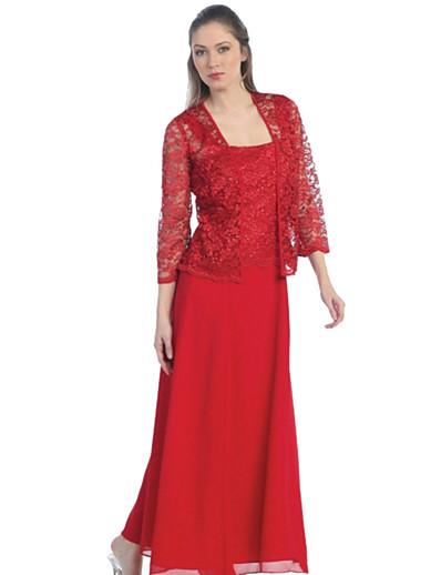 preiswerte Kleider in Übergröße da Donna-Damen Chiffon-Kleid Knielanges Kleid Schwarz Rote Wein Gold Grau 3/4 Ärmel Druck Volltonfarbe Spitze Frühling Quadratischer Ausschnitt Elegant 2021 S M L XL XXL 3XL 4XL 5XL