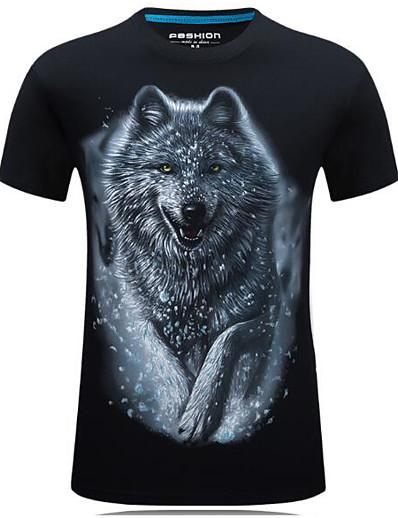 abordables Hommes 3D-Homme T shirt Impression 3D 3D Animal Manches Courtes Quotidien Hauts Chic de Rue Blanche Noir