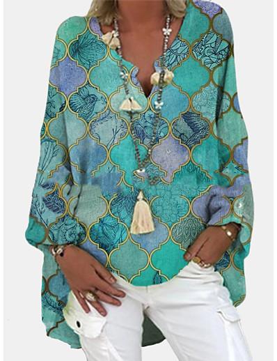 preiswerte Blusen & Hemden-Damen Tunika Bluse Hemd Einfarbig Langarm Asymmetrisch Druck V-Ausschnitt Grundlegend Oberteile Purpur Grün Hellgrün