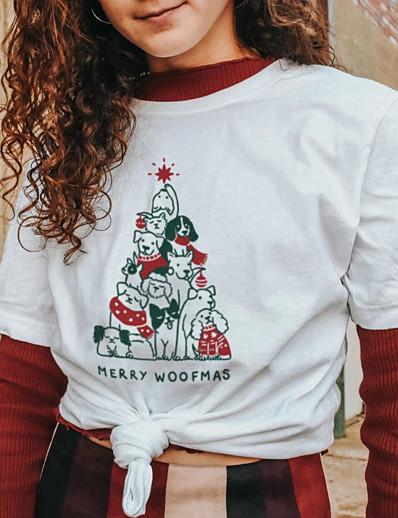 abordables Tee-shirts pour Femme-Tee-shirt Femme Noël Quotidien Sans Doublure Imprimés Photos Lettre Manches Courtes Imprimé Col Rond Hauts Standard Haut de base 100% Coton basique Noël Blanche Noir Rouge