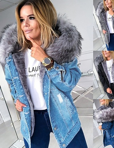 cheap Outerwear-Women's Denim Jacket Going out Fall & Winter Regular Coat Regular Fit Active Streetwear Jacket Long Sleeve Solid Colored Fur Trim Gray Black / Cut Out