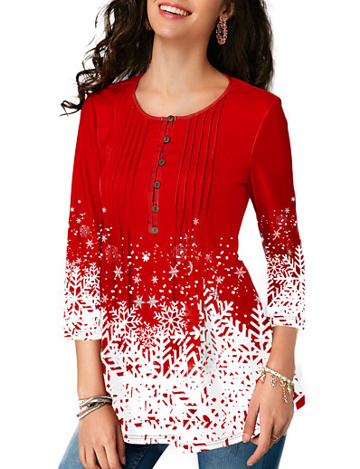 cheap TOPS-Women's Tunic Color Block Snowflake Ruffle Print Round Neck Tops Basic Top Red