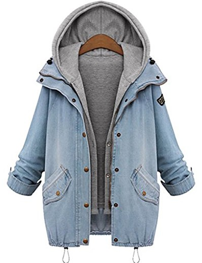 cheap Plus Size Outerwear-plus size long denim coat with gray sleeveless hooded vest fashion denim outwear sets
